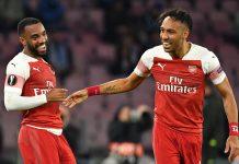 Aubameyang e Lacazette, Napoli-Arsenal