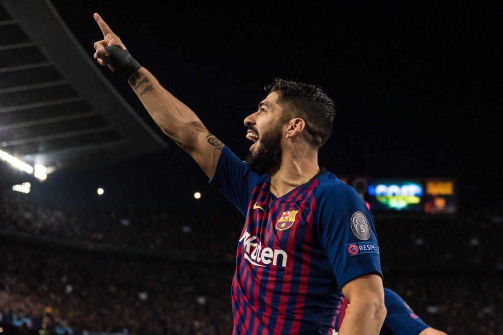 Suarez, esultanza Barcellona-Liverpool