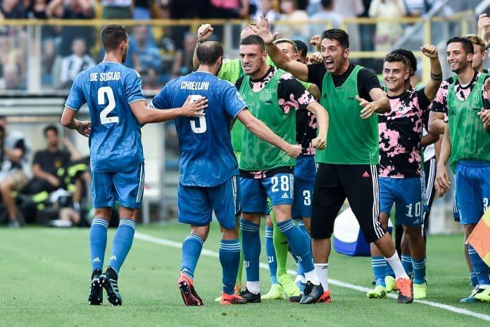 esultanza gol Chiellini, Parma-Juventus
