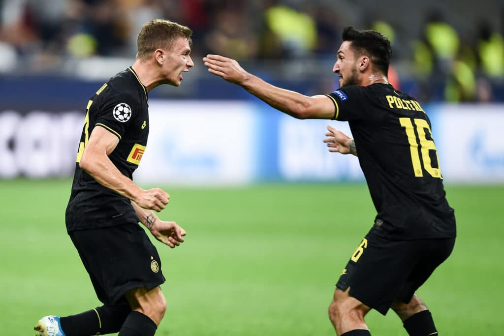 esultanza gol Barella, Inter-Slavia Praga