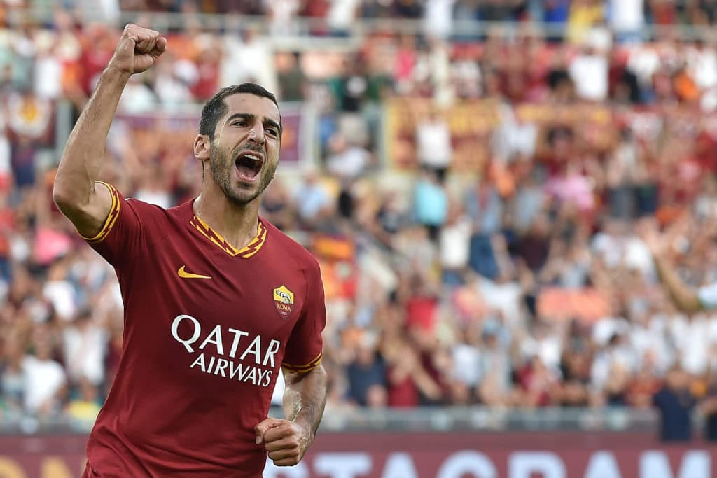 esultanza gol Mkhitaryan, Roma-Sassuolo