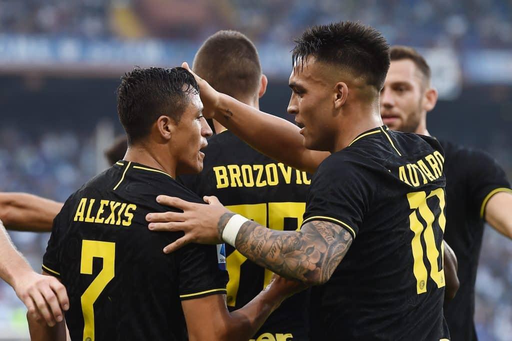 esultanza gol Sanchez, Sampdoria-Inter