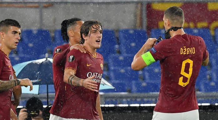 esultanza gol Zaniolo, Roma-Gladbach