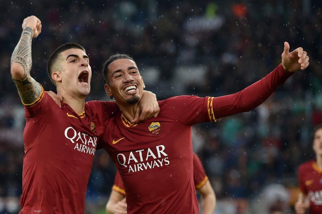 esultanza gol Mancini, Roma-Brescia