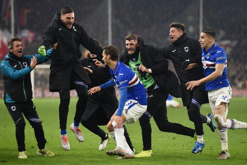 esultanza gol Gabbiadini, Genoa-Sampdoria