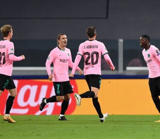 esultanza gol Dembele, Juventus-Barcellona
