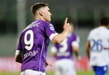 esultanza gol Vlahovic, Fiorentina-Sampdoria
