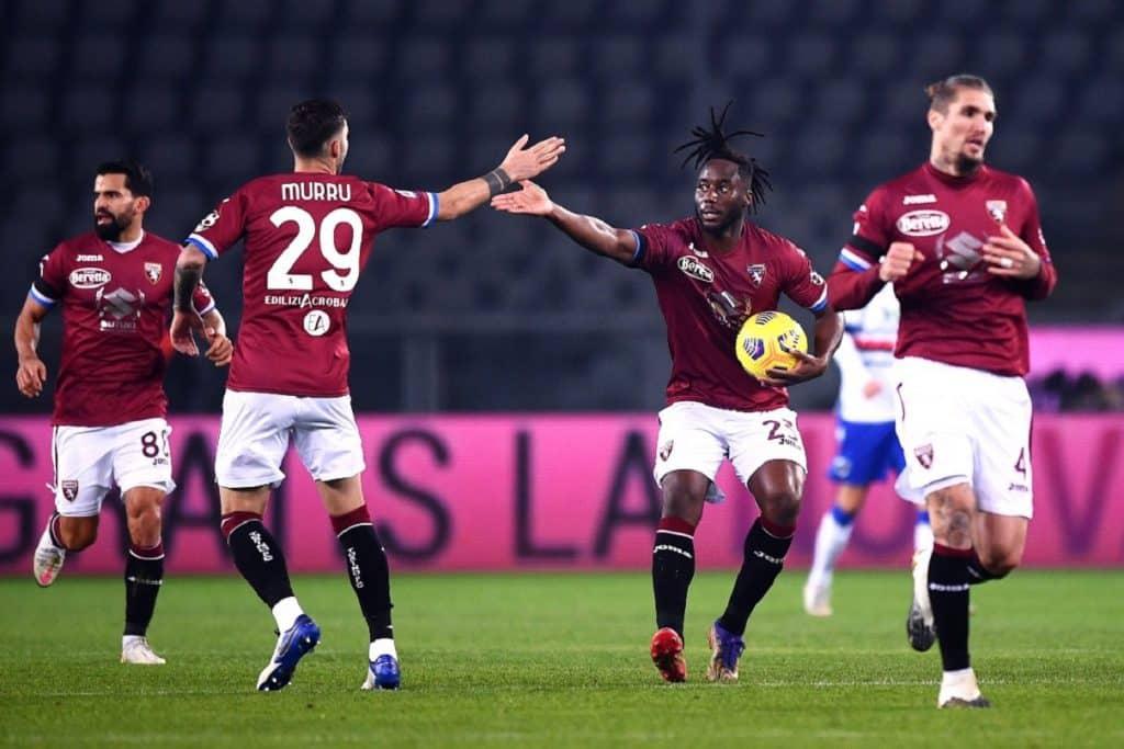 esultanza gol Meité, Torino-Sampdoria