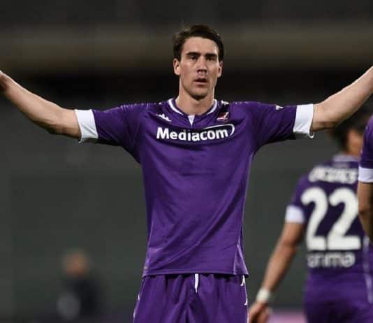 esultanza gol Vlahovic, Fiorentina-Lazio