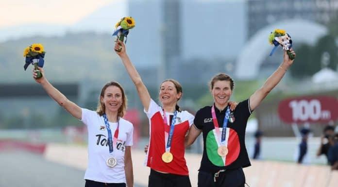 Vleuten-Kiesenhofer-Borghini, podio ciclismo femminile Olimpiadi 2021