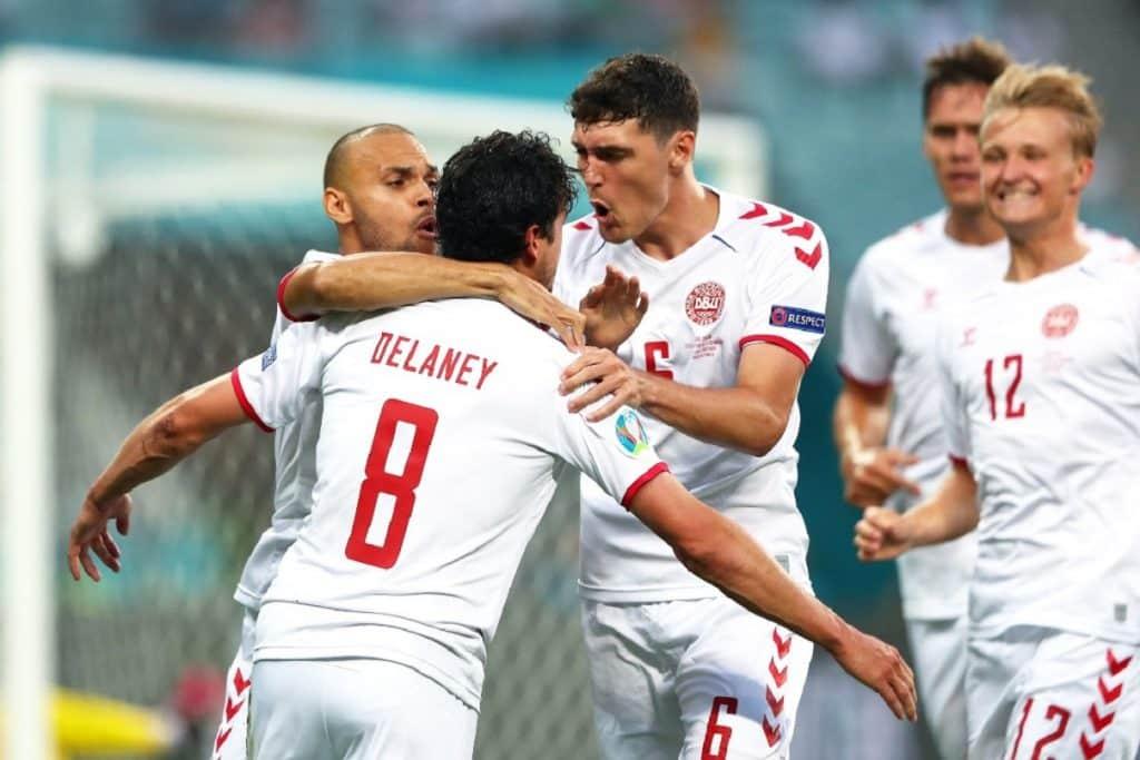 esultanza gol Delaney, Repubblica Ceca-Danimarca