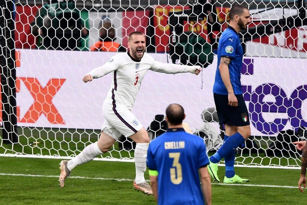 esultanza gol Shaw, Italia-Inghilterra