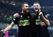 esultanza gol Dzeko e Skriniar, Inter-Sheriff